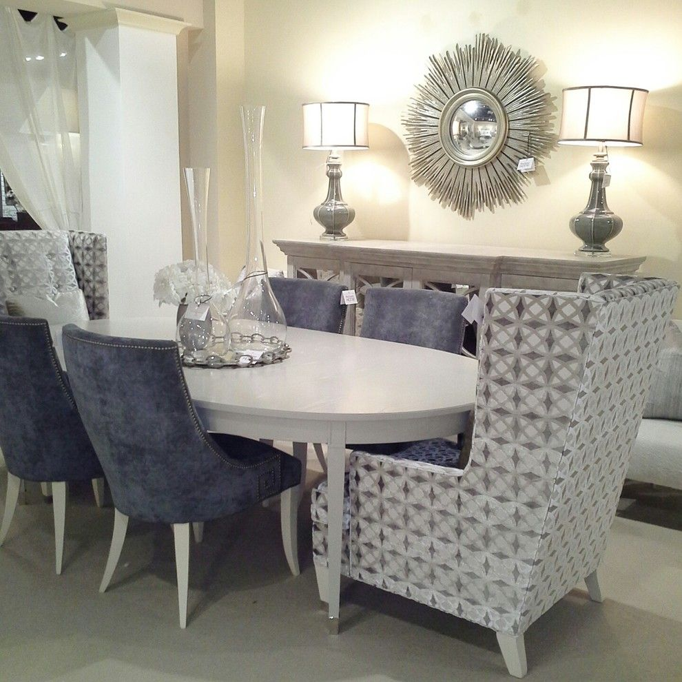 Lillian August Transitional Dining Room Decorators Los Angeles Bernhardt Interiors Blue Chair Chic Decor