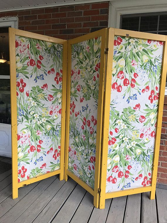 Vintage 3 Panels Room Divider Folding Privacy Screen Wood Frame Flowery Fabric Shabby Chic Shabby Chic Room Divider Folding Screen Room Divider Room Divider