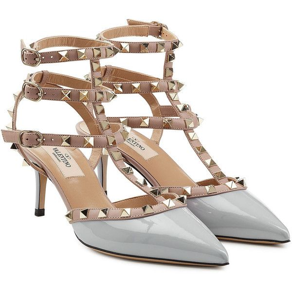 913fff18440 Valentino Rockstud Patent Leather Kitten Heel Pumps featuring ...