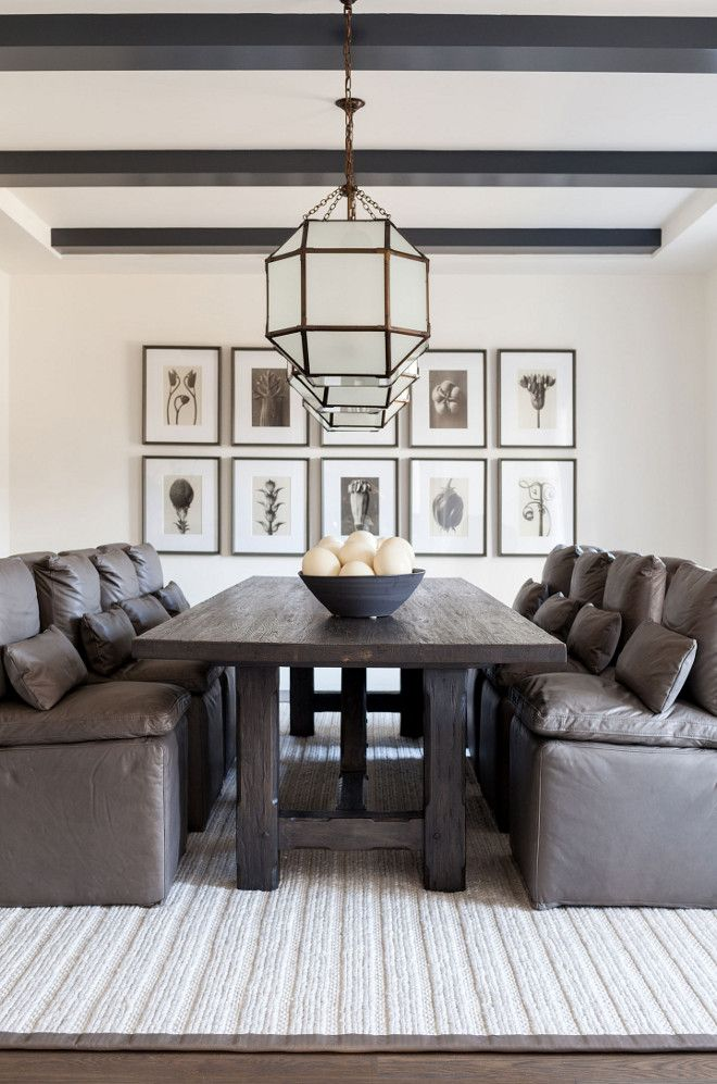 modern farmhouse dining room with leather dining chairs the leather