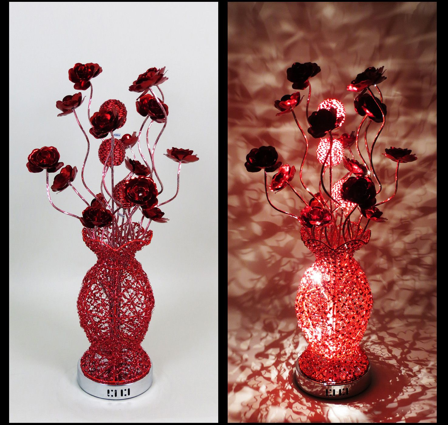 http://www.wirelamps.co.uk/WLT30695Red.html  All Red Medium Sized Woven Wire and Aluminium Table Lamp - featuring Bloomed Red Flower Heads