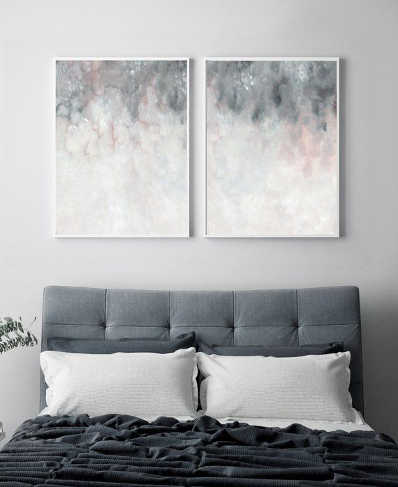 Pink Grey Wall Art Printable Art Bedroom Print Set Set Of Two Print Blush Pink Grey Print Abstract Wall Art Abstract Printable Art Grey Walls Pink Grey Wall Art Grey Bedroom