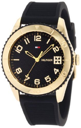 Tommy Hilfiger Women%27s 1781120 Sport Gold Toned Black silicone Watch