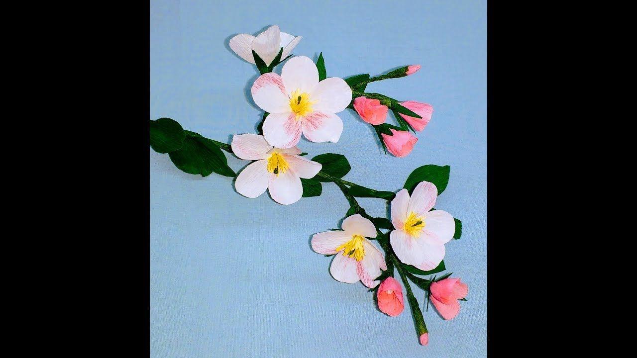 Apfelblüten aus Krepppapier Blumen basteln