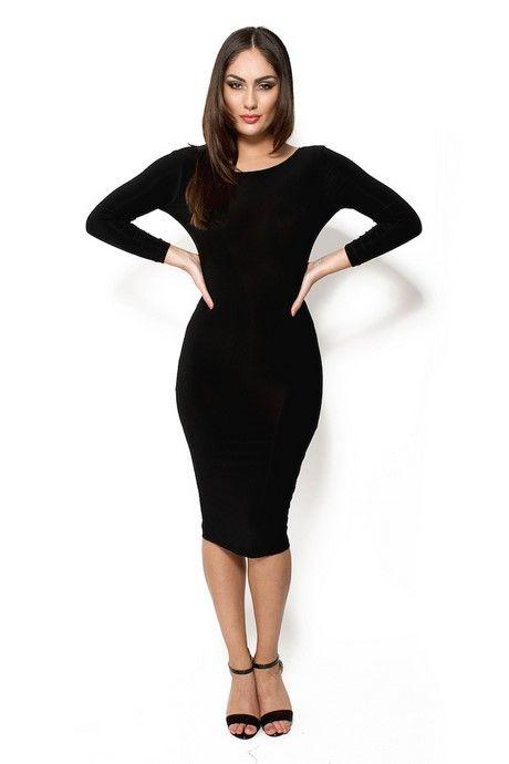 Zwart Strak Jurkje.Strak Zwart Jurkje Met Lange Mouwen Outfits High Neck Dress