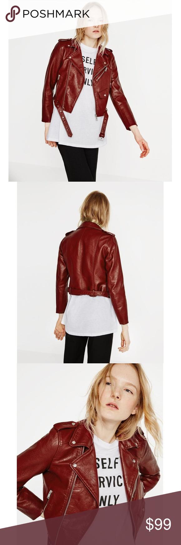 ZARA BASIC Faux Leather Crop Moto Zip Jacket NWT Zara