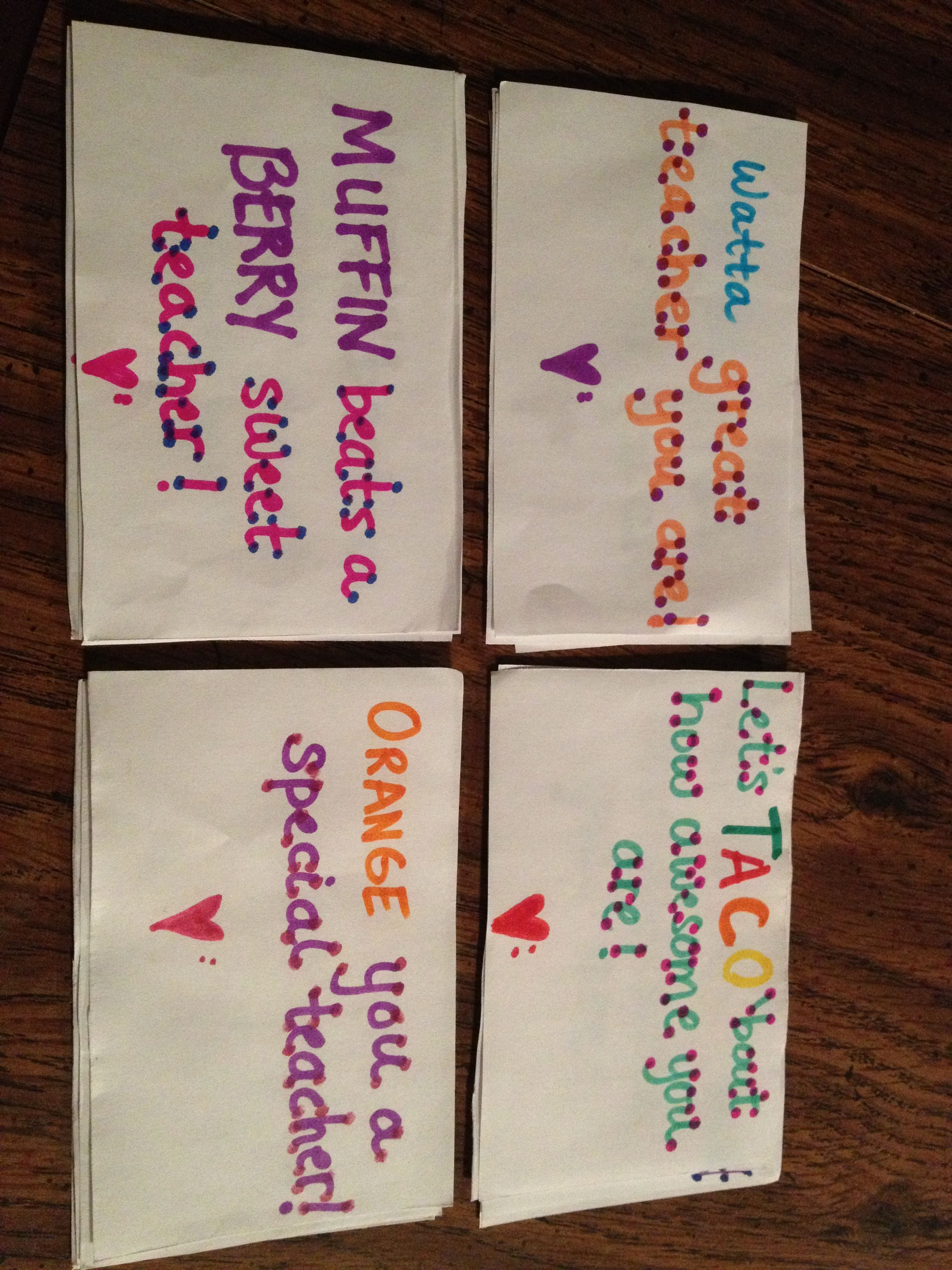 Teacher appreciation gift sayings for water, breakfast ...