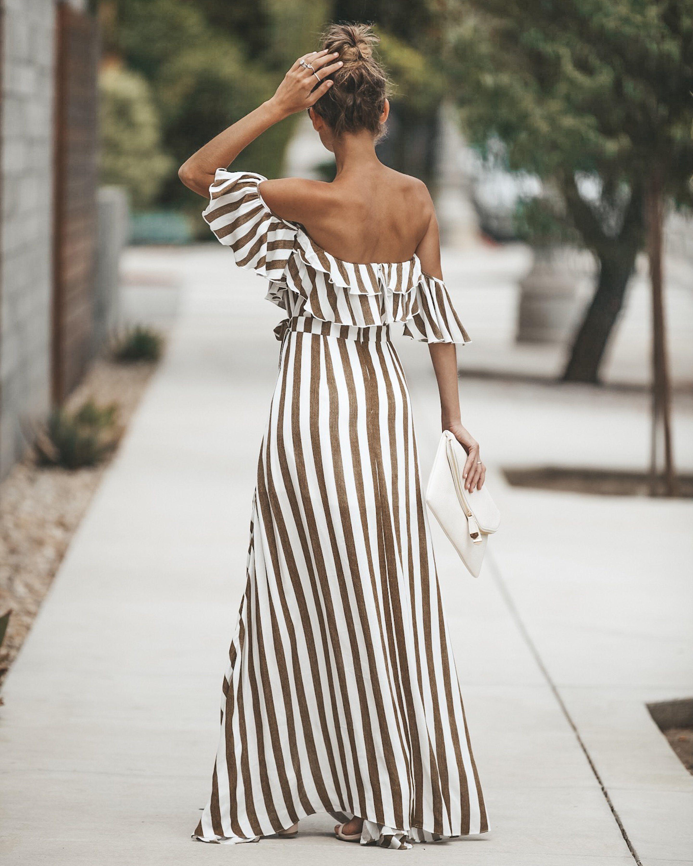 Eclipse Striped Wrap Maxi Dress Moda [ 3600 x 2881 Pixel ]