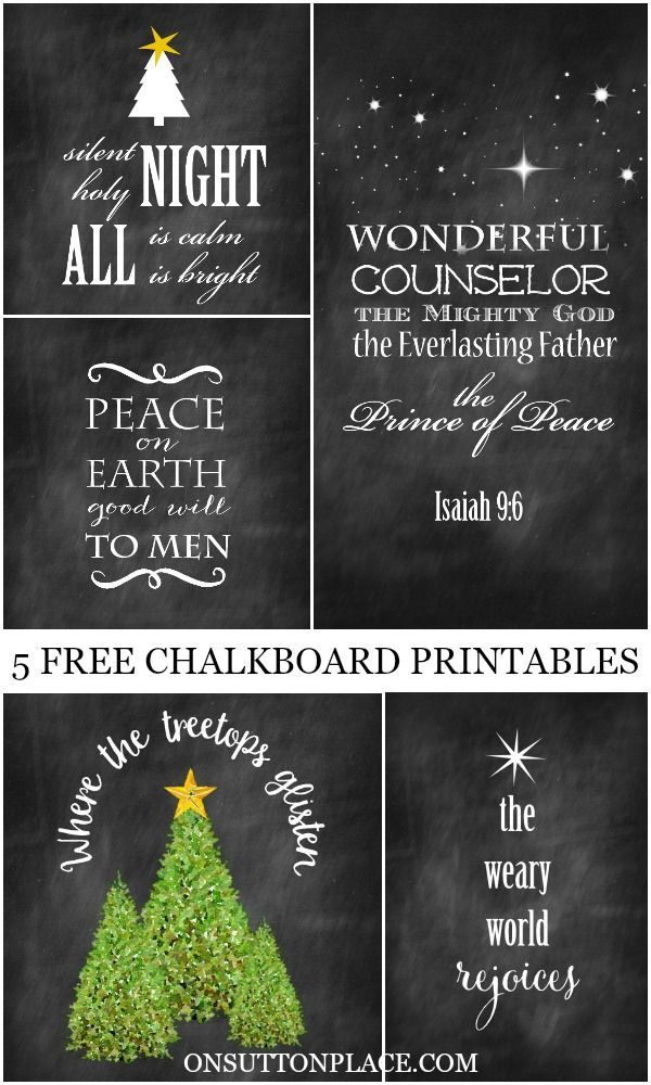 Free Christmas Ideas Crafts Part - 48: 5 Free Christmas Chalkboard Printable   Use For Easy DIY Wall Art, Cards,  Crafts