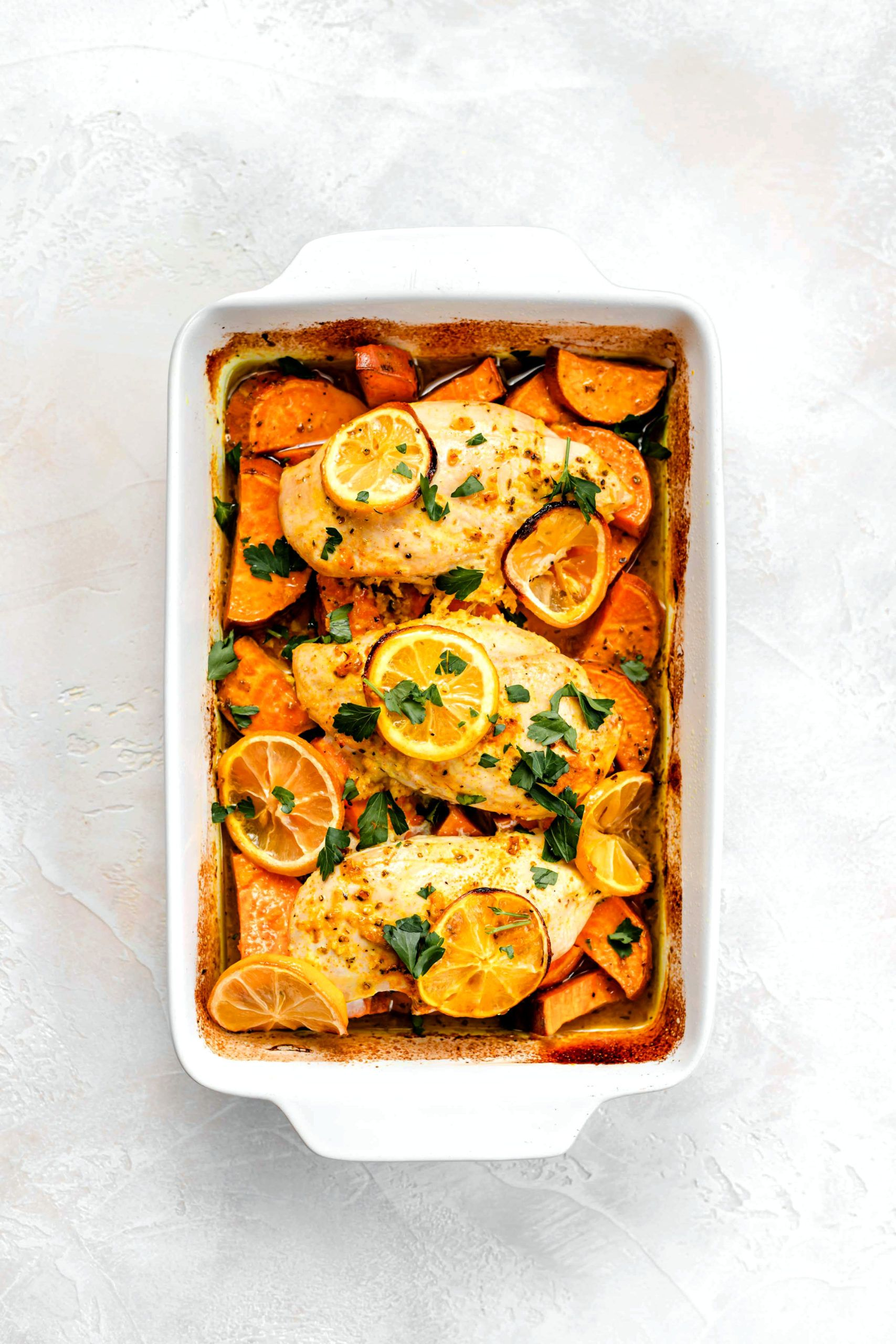 Healthy Lemon Chicken And Sweet Potatoes Paleo Whole 30 Baked Ambrosia Recipe In 2020 Healthy Lemon Chicken Recipe Healthy Lemon Chicken Paleo Sweet Potato