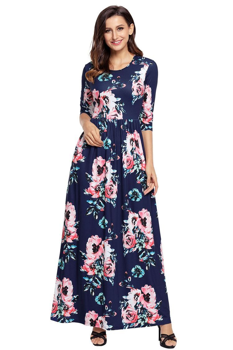 Best floral maxi dresses with pockets women summer floral maxi