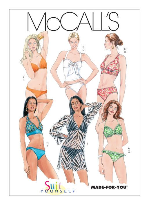 Two-piece swimsuit sewing pattern, M5400 | McCall\'s Patterns ...