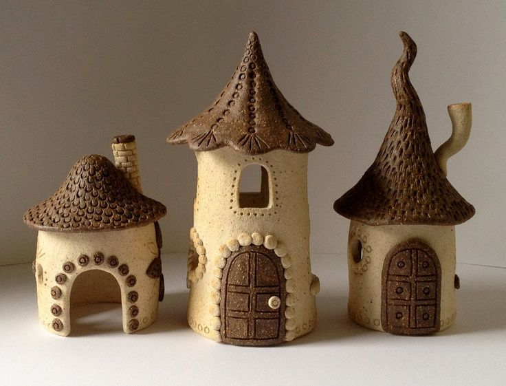 Ceramic Fairy House Warm White And Red 32 00 Via Etsy