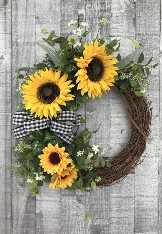 Photo of sunflower wreath front door summer wreaths front door spring wreaths summer grapevine wreath wreaths for front door year round