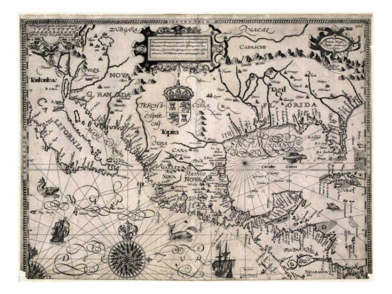 1600 Map Of Spanish Territories In North America Including Mexico Cuba California