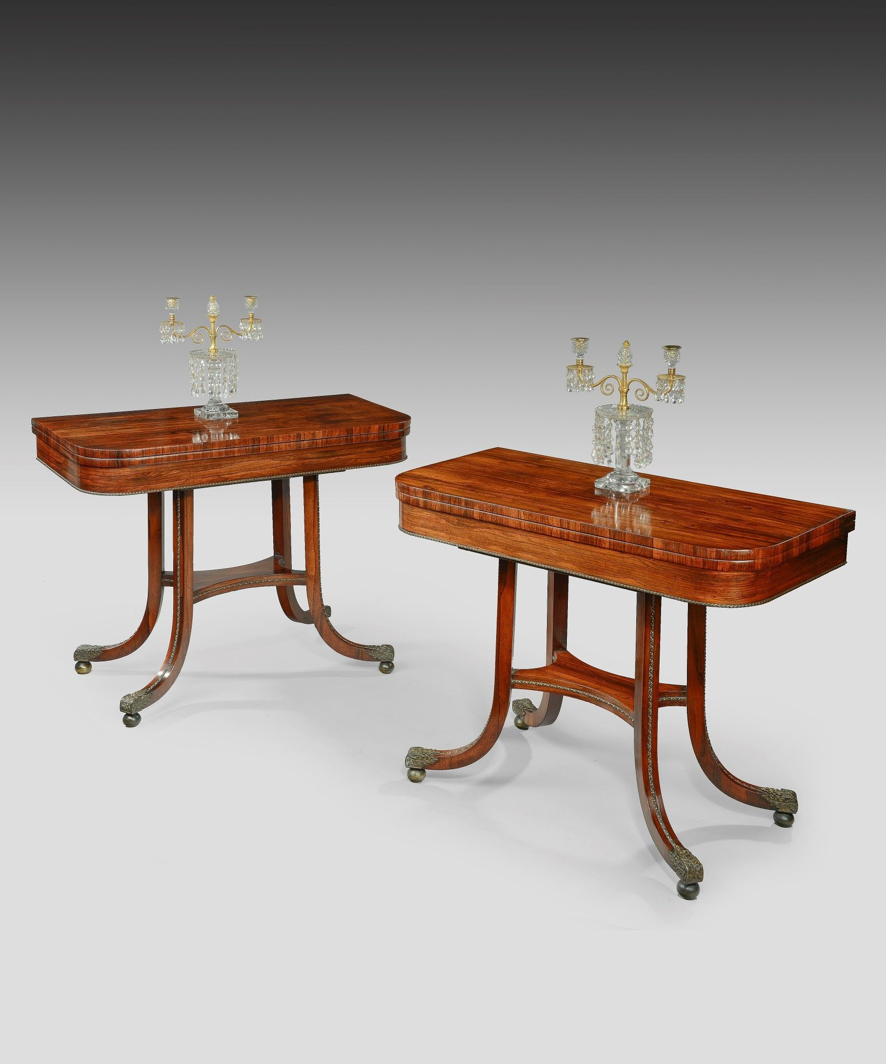 A Pair Of Regency Rosewood Card Tables With Beautiful Ormolu Detailing Georgian Furniture Antique Dining Tables English Antique Furniture