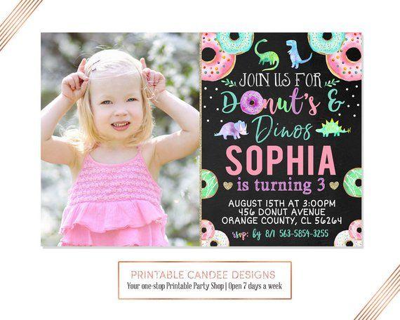 Donuts And Dinos Invitation Girl Dinosaur Birthday Party Invite Donut Chalk Printable Digital