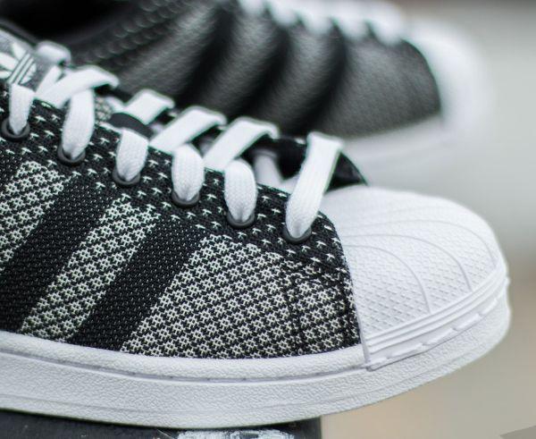 Adidas Superstar toile tissée blanc et noir (4)