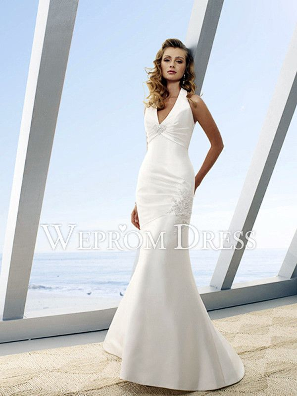 Innovative Mermaid/Trumpet Dropped Waistline Satin White Rectangle ...