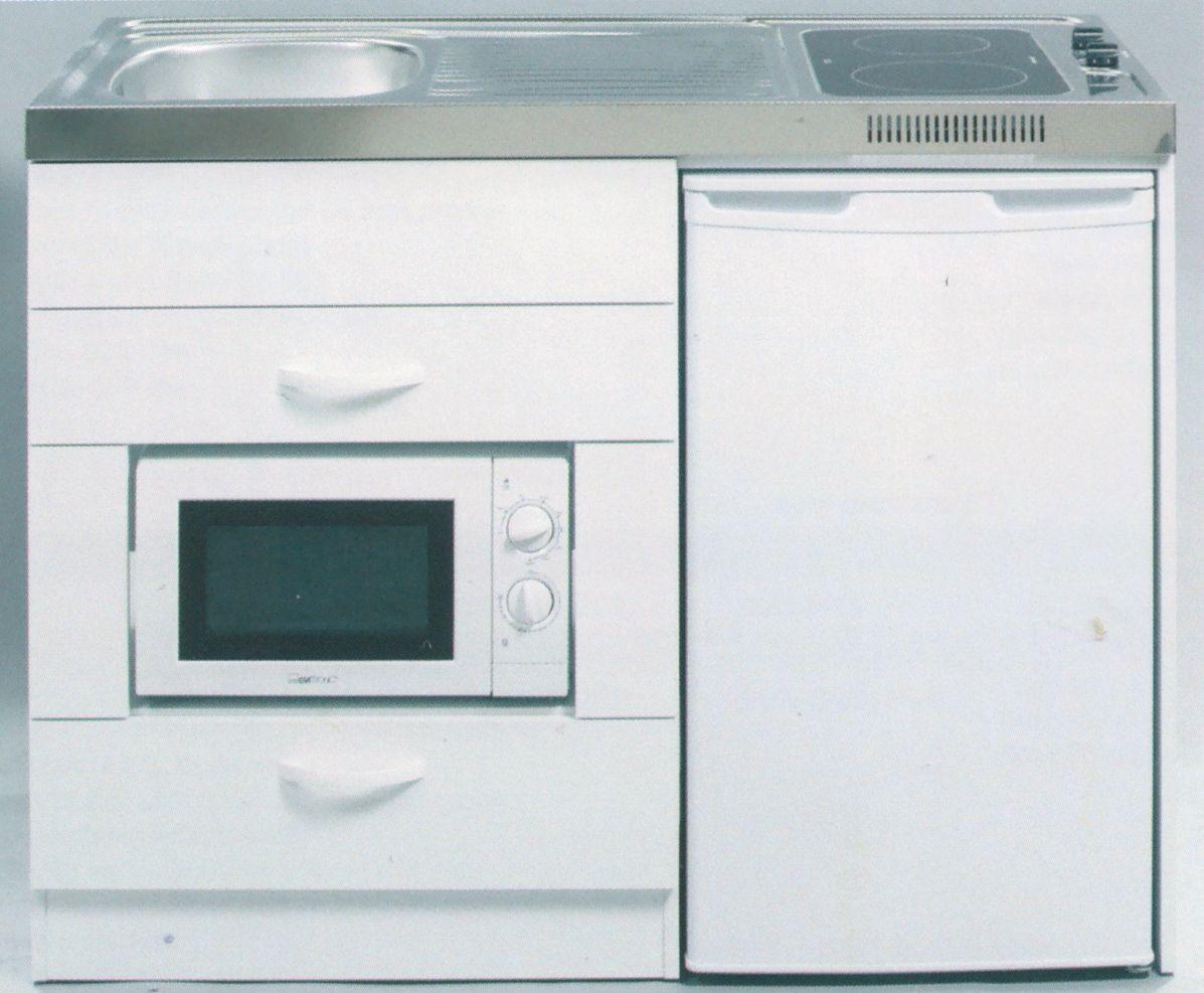 Miniküche mit Kühlschrank und Mikrowelle, 120 cm breit ...