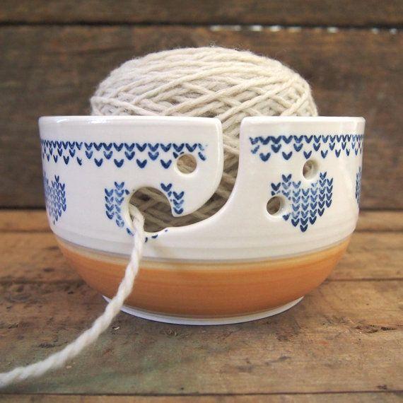 Bol à tricot bol à fil en céramique grand format par Auboutdurang