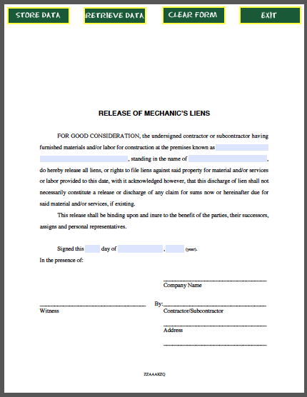 Release of Mechanics Liens Certificate Template – Release of Mortgage Form