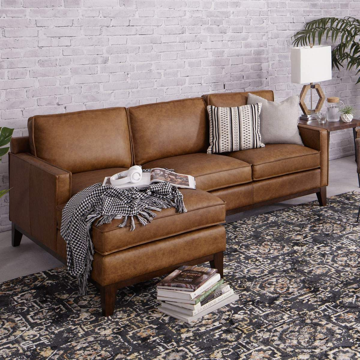 Awesome Calvin Raf Loveseat Laf Chaise In Cognac Jeromes Squirreltailoven Fun Painted Chair Ideas Images Squirreltailovenorg