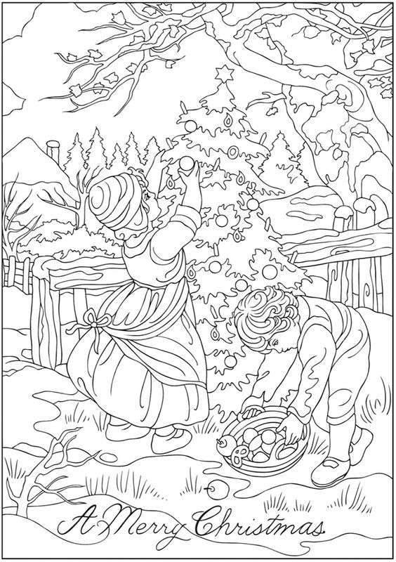Creative Haven Vintage Christmas Greetings Coloring Book Dover Publications Christmas Coloring Pages Christmas Coloring Books Coloring Books