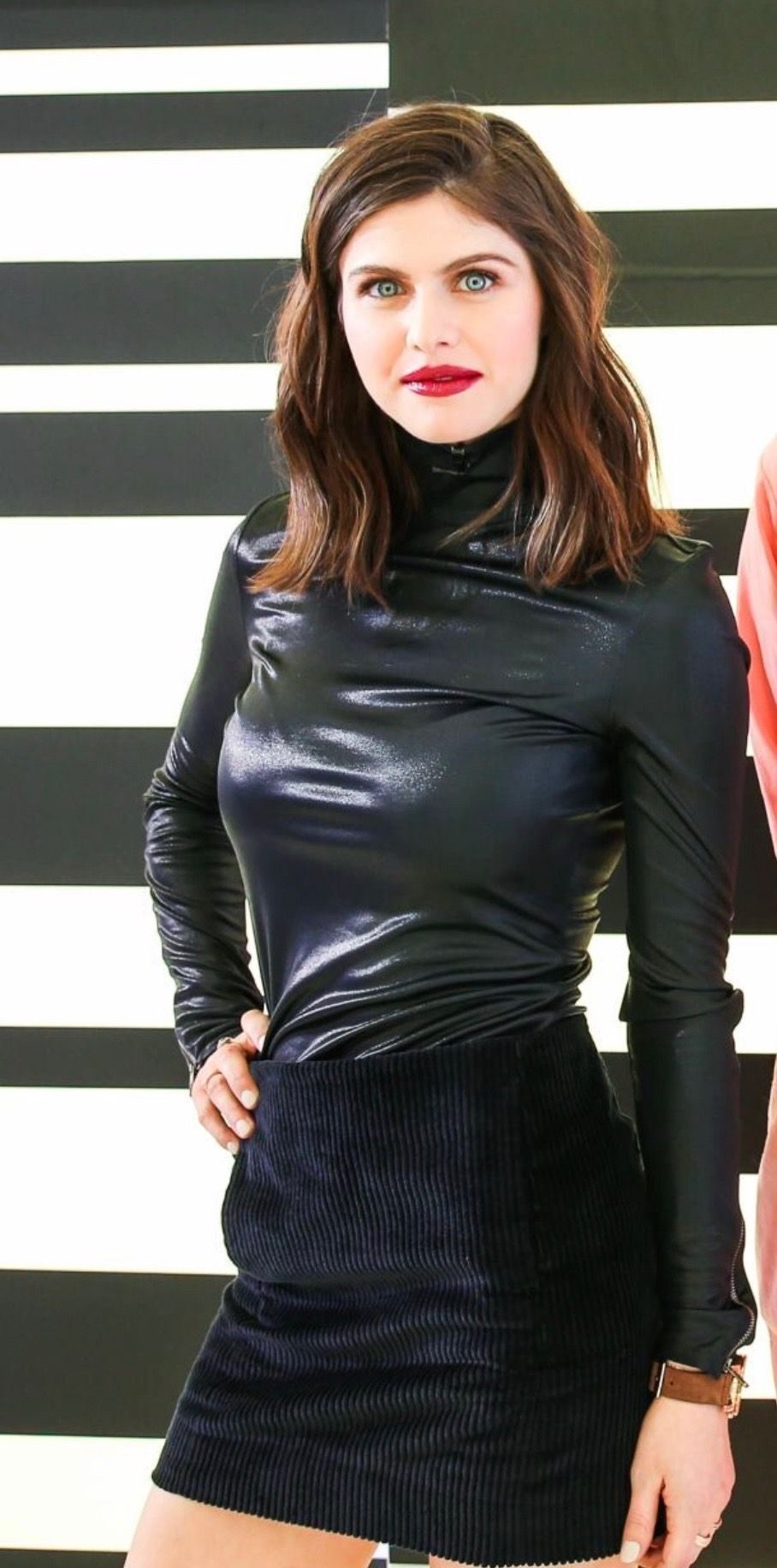 Alexandra Daddario Wearing A Leather Top And Mini Skirt