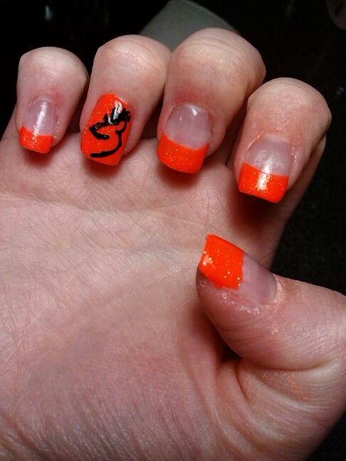Orange tips with browning symbol - Orange Tips With Browning Symbol Freehand Nail Art Pinterest