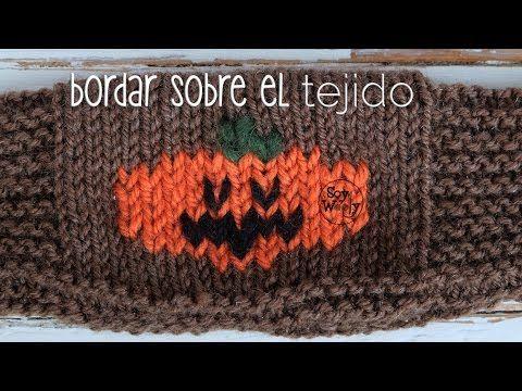 Bordar sobre el tejido en dos agujas: falso jacquard -Halloween ...