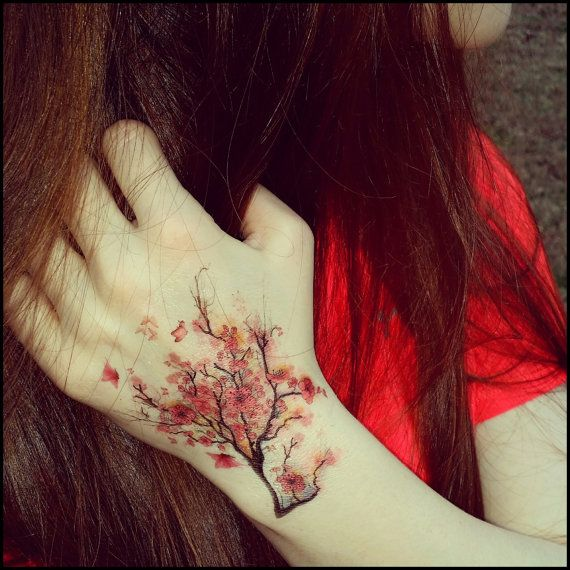 Cherry blossoms temporary tattoo fake tattoos by SharonHArtDesigns