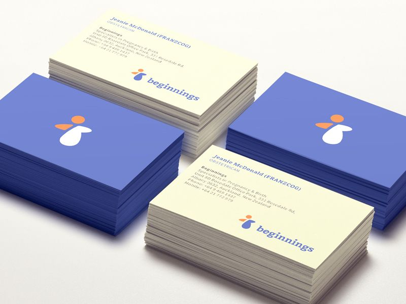 beginnings business cards and logos