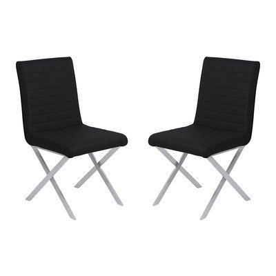 Orren Ellis Hawkins Contemporary Dining Side Chair Upholstery: Black