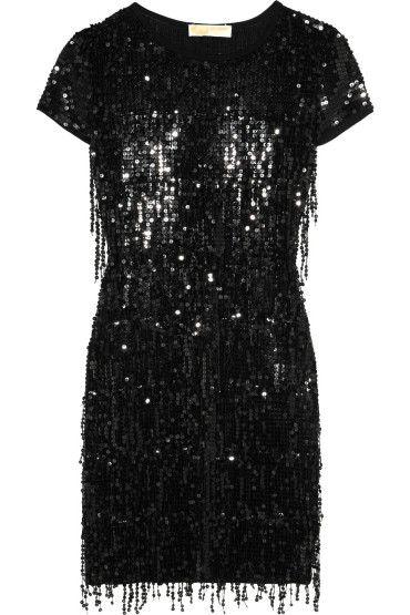 Mini-robe en jersey pailletté noir, Michael Michael kors, noel réveillon