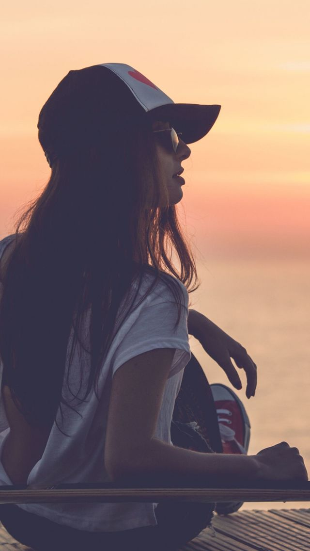 Girl Skate Sea Sunset Cap Iphone 5s Wallpaper Download Iphone Wallpapers Ipad Wallpapers One Stop Download Fashion Summer Fashion Outfit Accessories Sara jean underwood iphone wallpaper