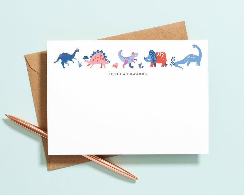 Notecard Personalized Stationery Cards for Boys Notecards Custom Stationery Dinosaur Stationery