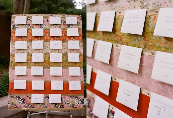 Escort Card display with Japanese paper