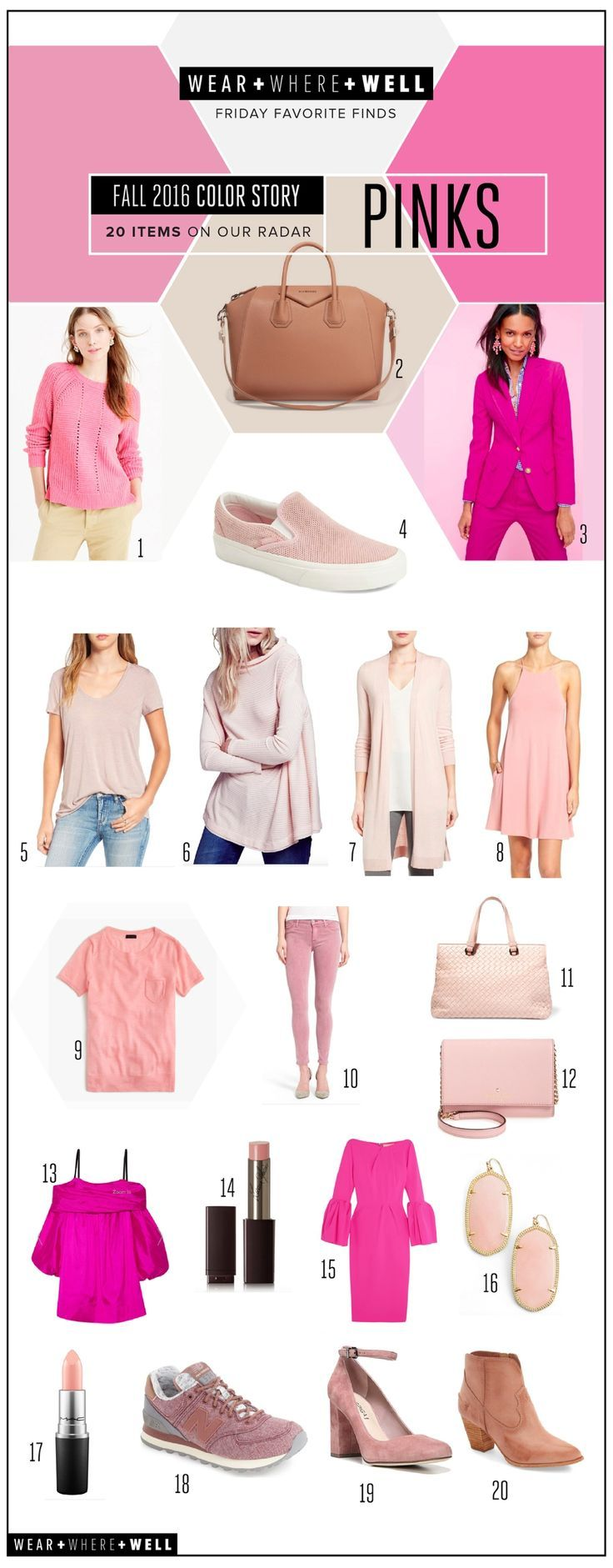 Wear + Where + Well : 20 Pink Items on Our Radar... Pink is the hot color for fall 2016!