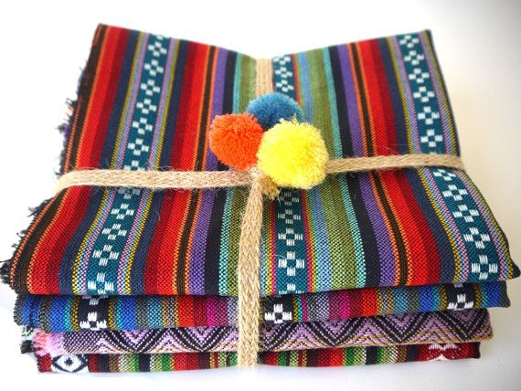 Tribal Fabric Latin American Woven Fabric , South American Peruvian Woven textiles, Sample pack of 4 pieces