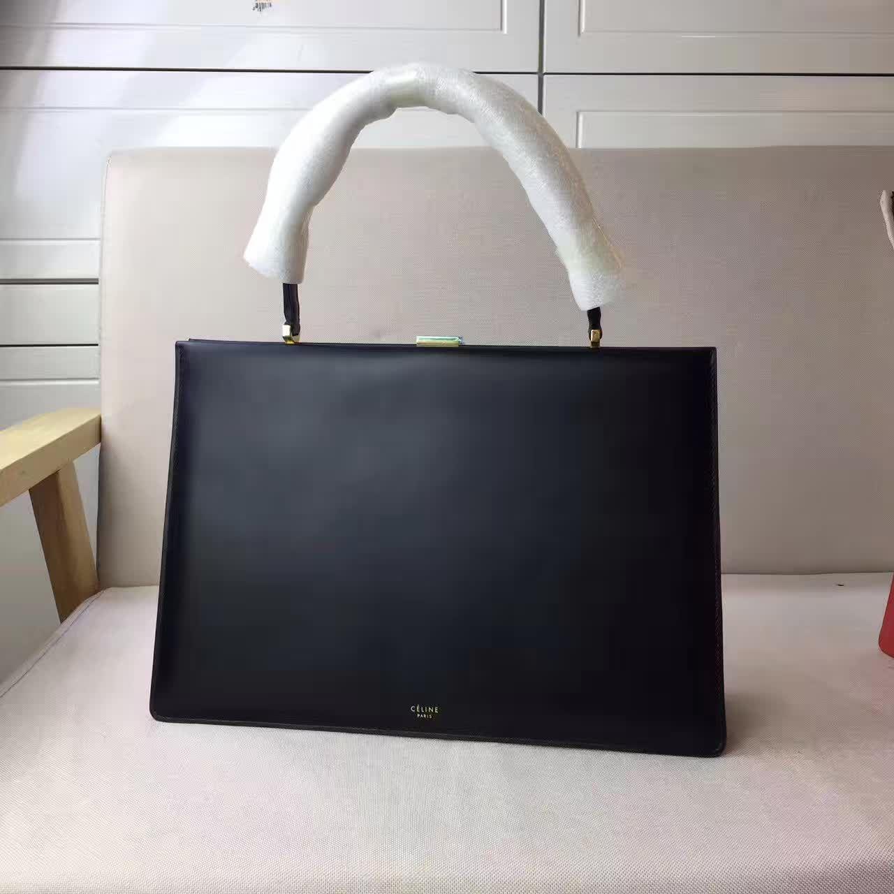 Celine Summer 2017-Celine Medium Clasp Bag in black natural calfskin ... 1e66c9d8363de