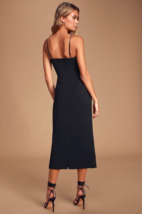 Lulus | Next Step Black Sleeveless Midi Dress | Size X-Small | 100% Polyester #blacksleevelessdress