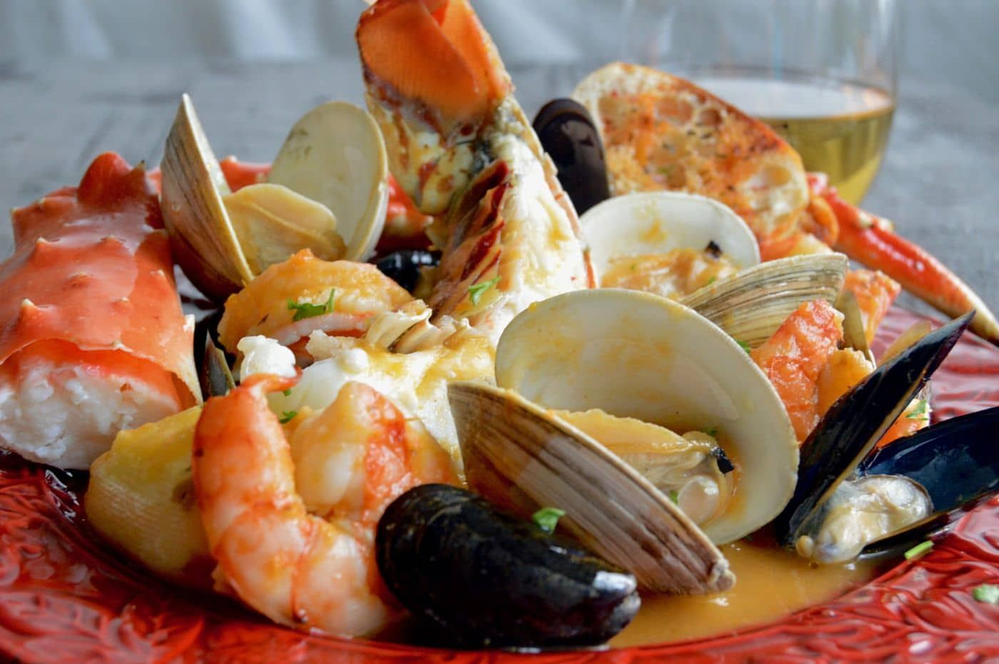 Fancy shellfish, lobster crab, shrimp mussels and crab in ...