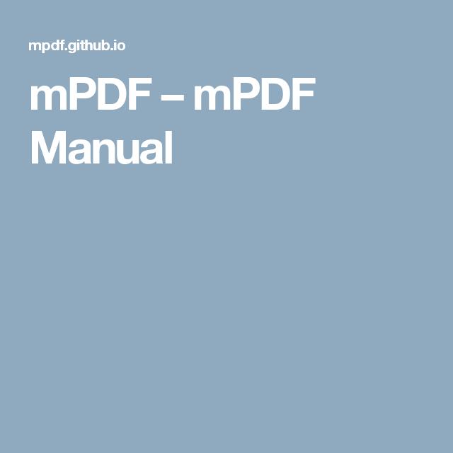 mPDF – mPDF Manual | Effekte, Inspirationen und Designtricks | Manual