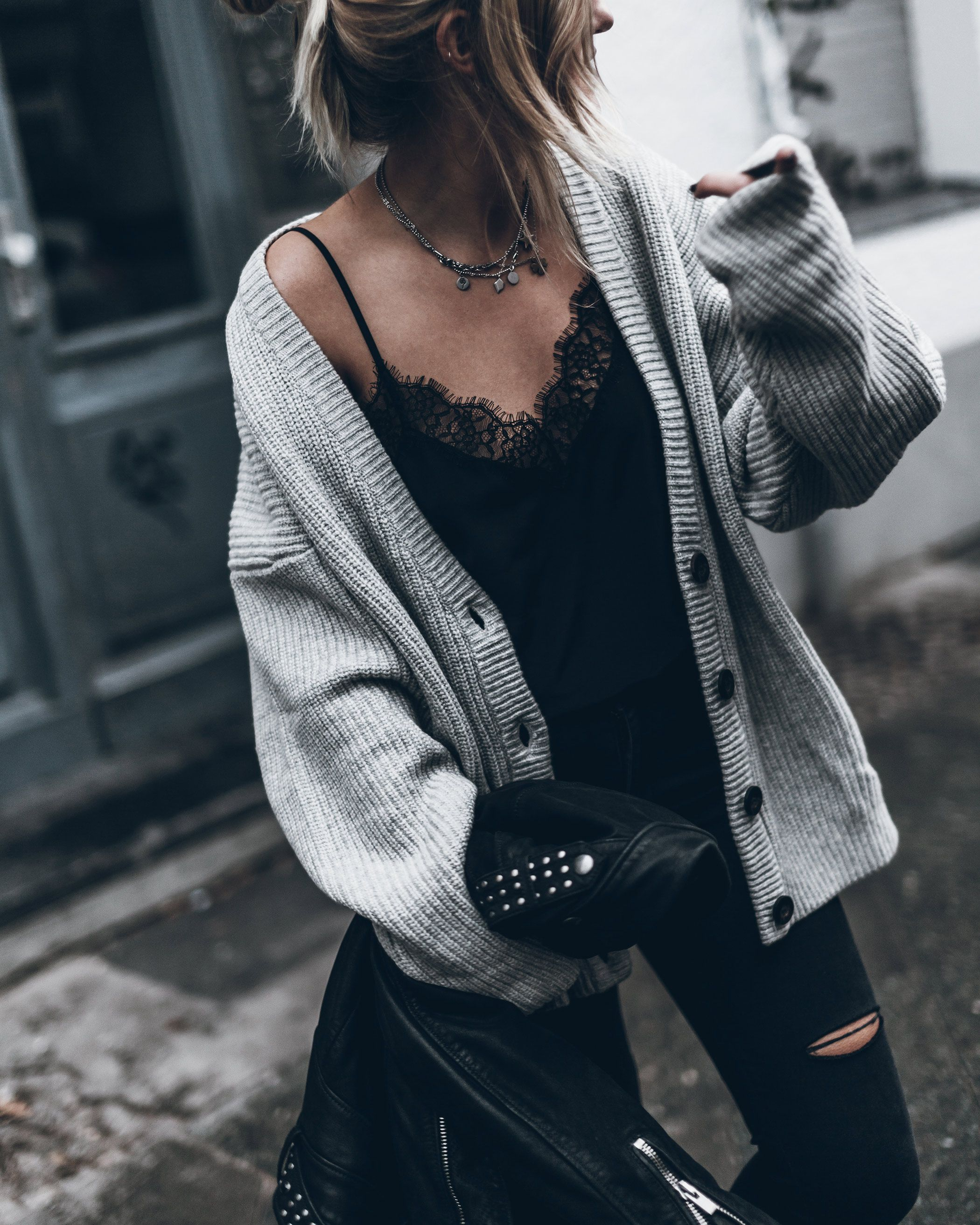 The Comfy Look: Lace Cami Top with Grey Cardigan Similar Style Available at SiiZU
