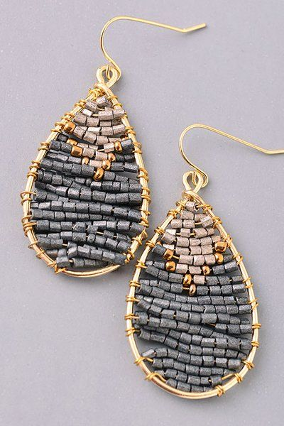 Grey/gold handmade teardrop earrings
