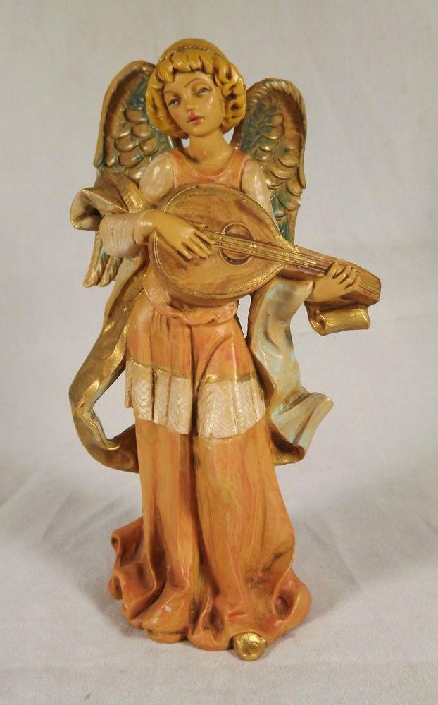 Fontanini Italy Angel Playing Mandolin Rare 6.5 in Early Nativity Figure Spider #Fontanini #Angel #ChristmasNativity