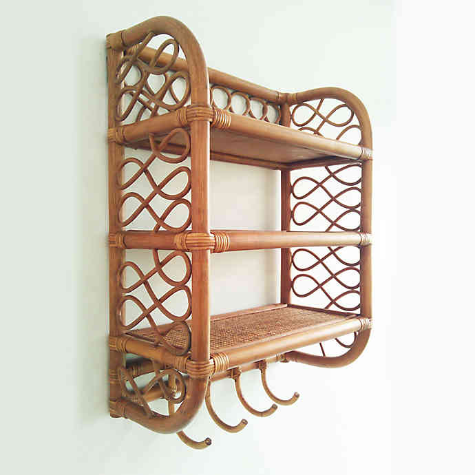Global Caravan Rattan Wall Shelf With Hooks In Caramel Brown Wall Shelf With Hooks Wall Shelves Shelves