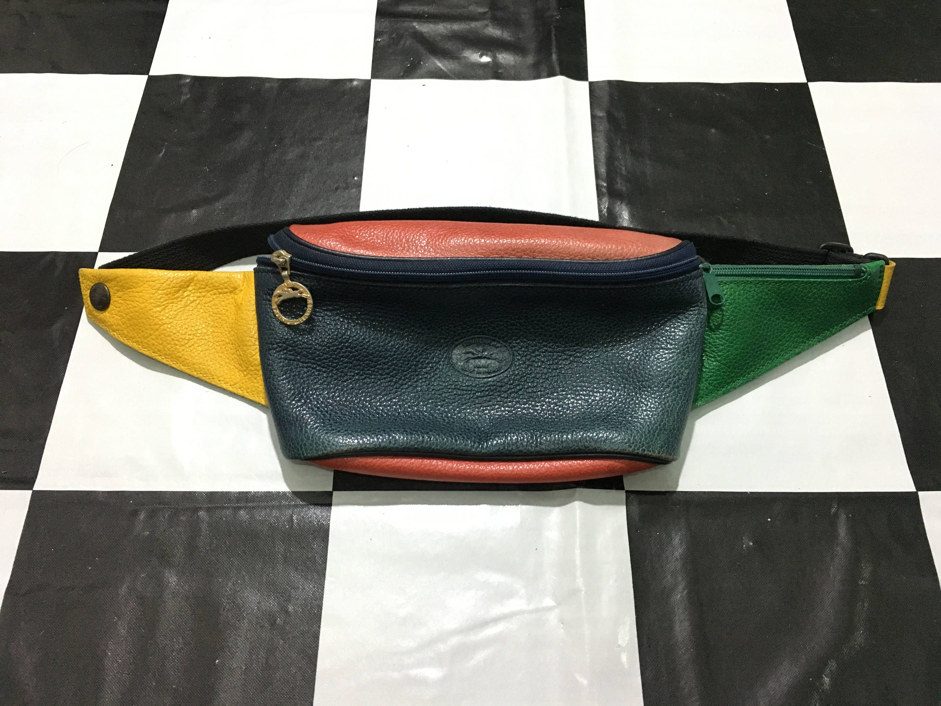 fbe56774e079 Vintage Longchamp waist bag multi-color leather fanny pack Made in France  Longchamp Paris Excellent condition by AlivevintageShop on Etsy