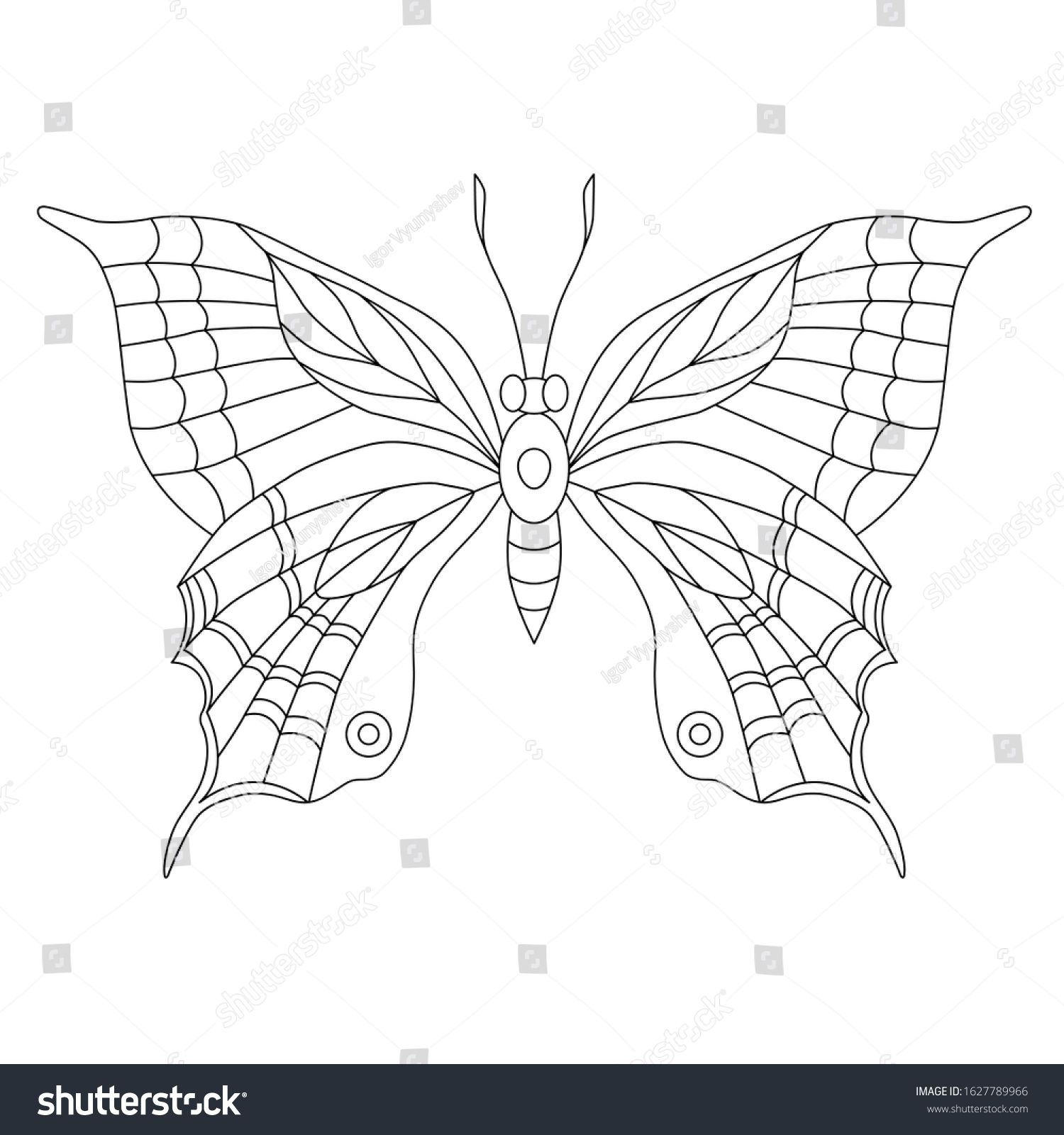 Butterfly With Ornament On The Wings Coloring Page Black Contour Illustration N Ad Aff Wings Co Coloring Pages Butterfly Coloring Page Stock Illustration [ 1600 x 1500 Pixel ]